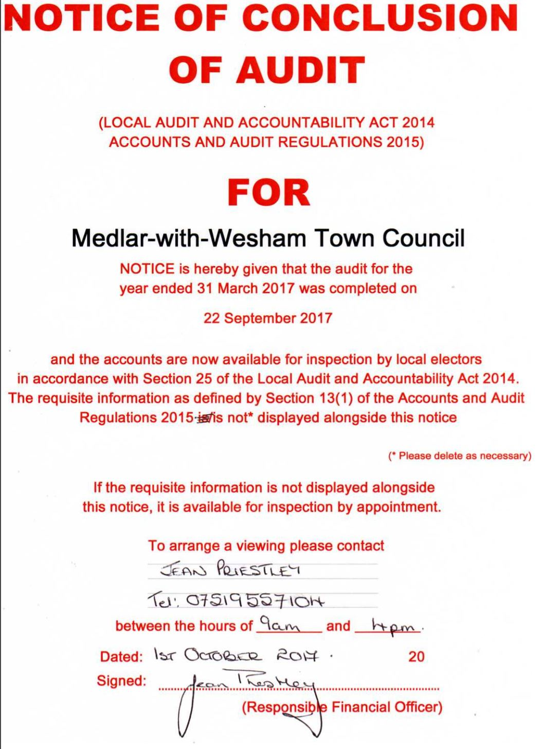 Notice of Council Audit