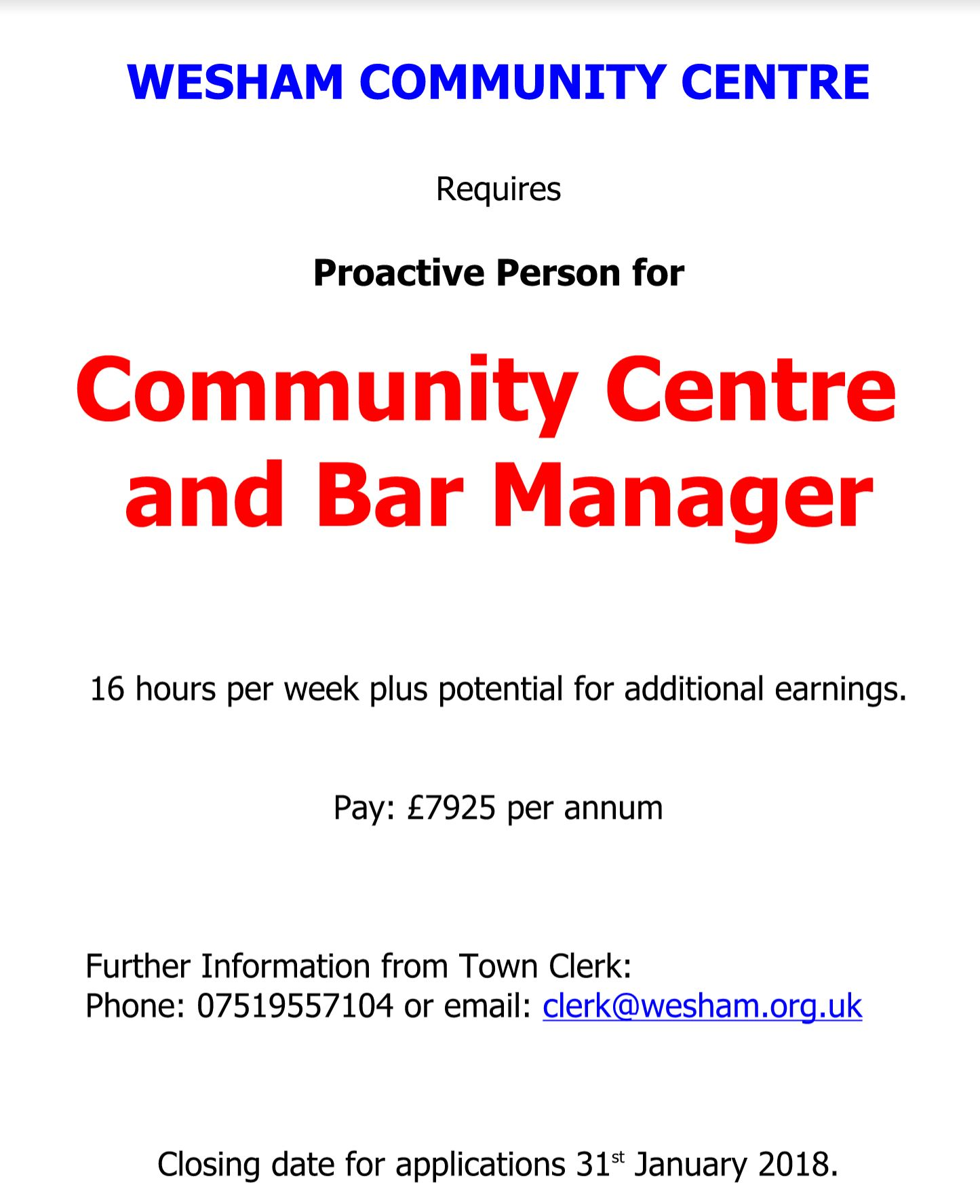 Job Opportunity: New Community Centre and Bar Manager wanted