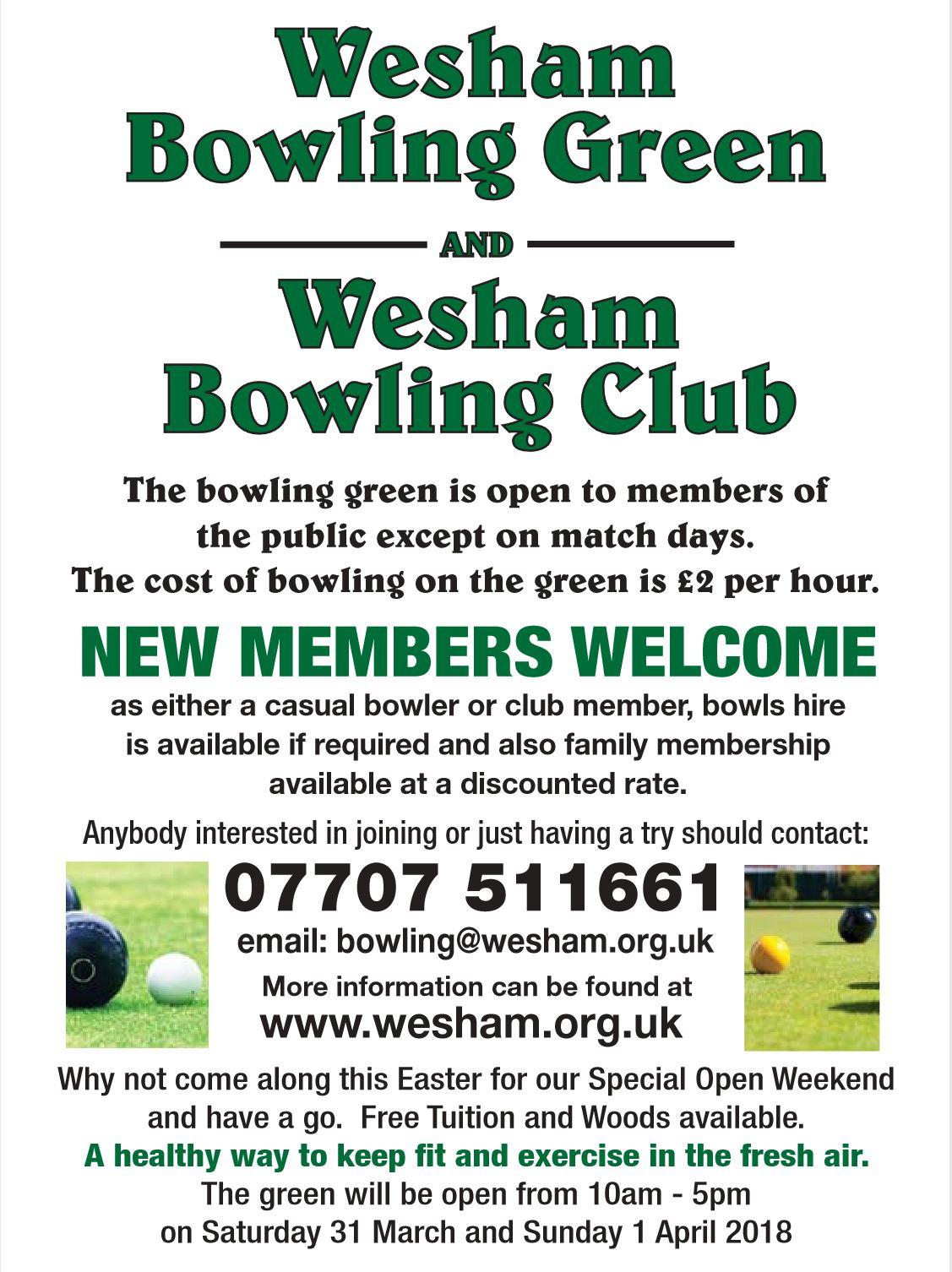 Wesham Bowling Club info
