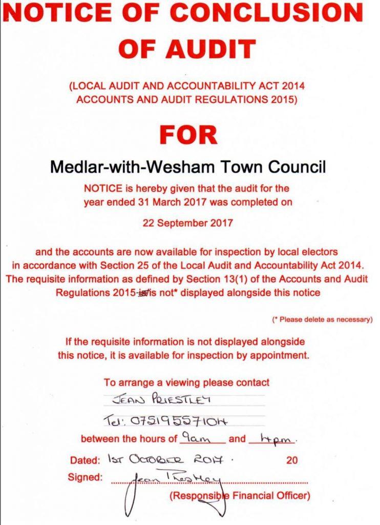 Notice of Council Audit